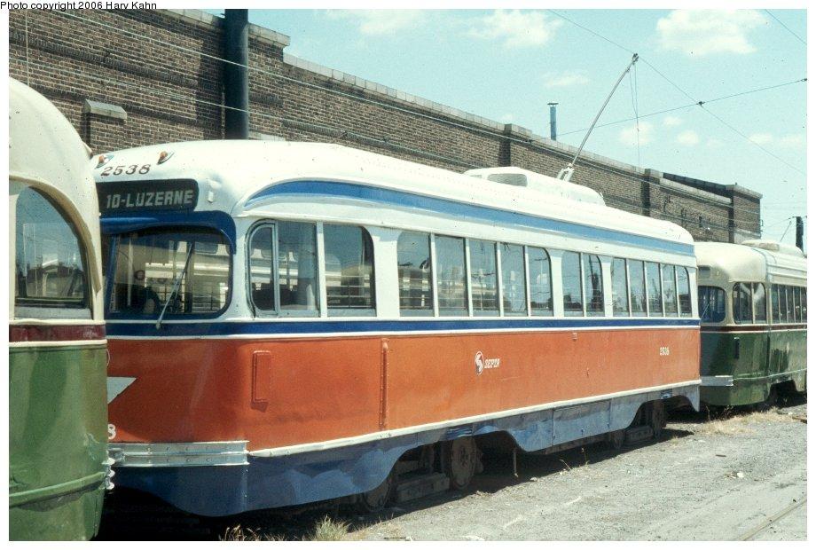 (124k, 920x620)<br><b>Country:</b> United States<br><b>City:</b> Philadelphia, PA<br><b>System:</b> SEPTA (or Predecessor)<br><b>Location:</b> Luzerne Depot <br><b>Car:</b> PTC/SEPTA Pre-war Air-car PCC (St.Louis, 1940)  2538 <br><b>Photo by:</b> Harv Kahn<br><b>Date:</b> 7/17/1976<br><b>Viewed (this week/total):</b> 0 / 976
