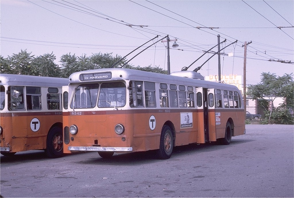 (227k, 1024x689)<br><b>Country:</b> United States<br><b>City:</b> Boston, MA<br><b>System:</b> MBTA Boston<br><b>Line:</b> MBTA Trolleybus (71,72,73)<br><b>Location:</b> North Cambridge Car House<br><b>Car:</b> MBTA Trolleybus 8542 <br><b>Photo by:</b> Joe Testagrose<br><b>Date:</b> 8/10/1970<br><b>Viewed (this week/total):</b> 2 / 1993