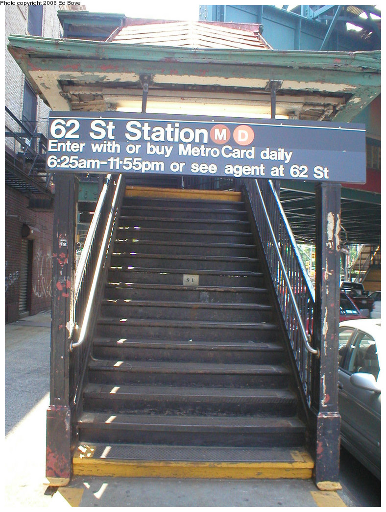 (254k, 788x1044)<br><b>Country:</b> United States<br><b>City:</b> New York<br><b>System:</b> New York City Transit<br><b>Line:</b> BMT West End Line<br><b>Location:</b> 62nd Street <br><b>Photo by:</b> Ed Bove<br><b>Date:</b> 6/26/2005<br><b>Notes:</b> Station entrance made famous in the movie The French Connection.<br><b>Viewed (this week/total):</b> 7 / 2983