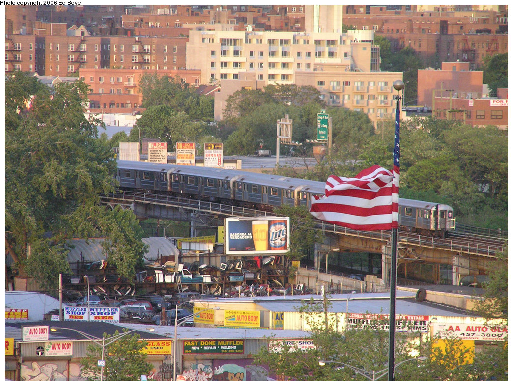 (323k, 1044x786)<br><b>Country:</b> United States<br><b>City:</b> New York<br><b>System:</b> New York City Transit<br><b>Line:</b> IRT Flushing Line<br><b>Location:</b> Willets Point/Mets (fmr. Shea Stadium) <br><b>Route:</b> 7<br><b>Car:</b> R-62A (Bombardier, 1984-1987)  17xx <br><b>Photo by:</b> Ed Bove<br><b>Date:</b> 5/21/2006<br><b>Notes:</b> View of Flushing line from upper tier of Shea Stadium.<br><b>Viewed (this week/total):</b> 2 / 3752