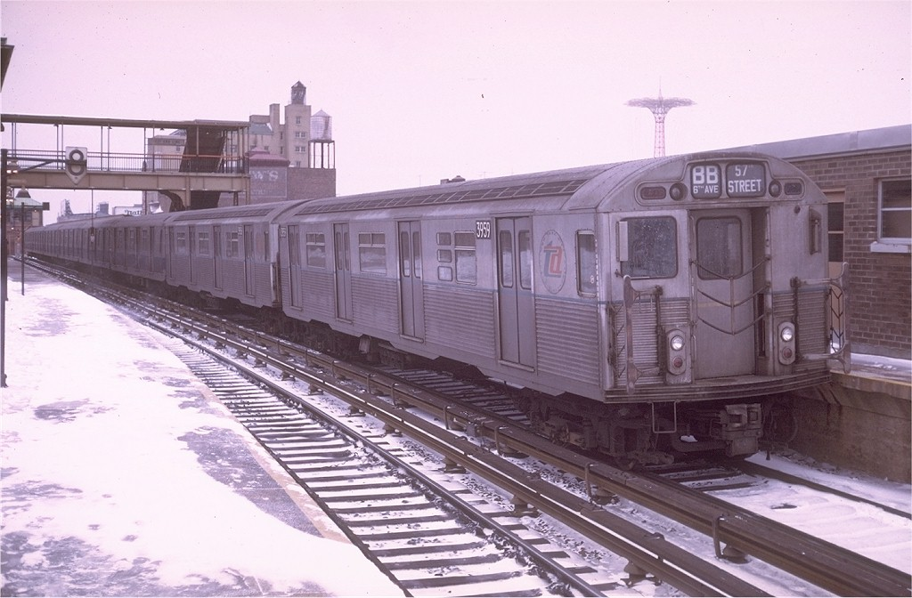 (174k, 1024x672)<br><b>Country:</b> United States<br><b>City:</b> New York<br><b>System:</b> New York City Transit<br><b>Location:</b> Coney Island/Stillwell Avenue<br><b>Route:</b> B<br><b>Car:</b> R-38 (St. Louis, 1966-1967)  3959 <br><b>Photo by:</b> Doug Grotjahn<br><b>Collection of:</b> Joe Testagrose<br><b>Date:</b> 12/27/1969<br><b>Viewed (this week/total):</b> 0 / 4724