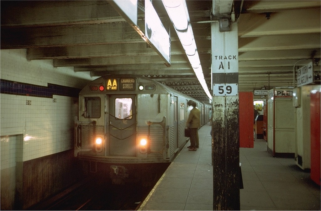 (172k, 1024x673)<br><b>Country:</b> United States<br><b>City:</b> New York<br><b>System:</b> New York City Transit<br><b>Line:</b> IND 8th Avenue Line<br><b>Location:</b> 59th Street/Columbus Circle <br><b>Route:</b> AA<br><b>Car:</b> R-38 (St. Louis, 1966-1967)  3983 <br><b>Photo by:</b> Doug Grotjahn<br><b>Collection of:</b> Joe Testagrose<br><b>Date:</b> 4/25/1969<br><b>Viewed (this week/total):</b> 7 / 4337