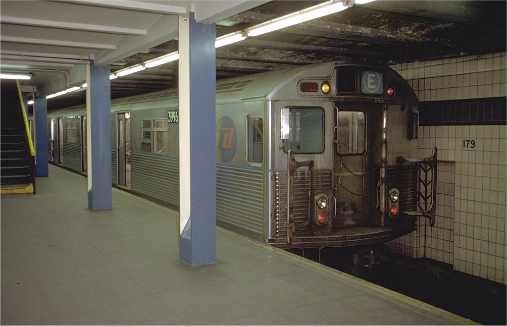 (172k, 1024x658)<br><b>Country:</b> United States<br><b>City:</b> New York<br><b>System:</b> New York City Transit<br><b>Line:</b> IND Queens Boulevard Line<br><b>Location:</b> 179th Street <br><b>Route:</b> E<br><b>Car:</b> R-38 (St. Louis, 1966-1967)  3996 <br><b>Photo by:</b> Doug Grotjahn<br><b>Collection of:</b> Joe Testagrose<br><b>Date:</b> 12/4/1971<br><b>Viewed (this week/total):</b> 1 / 5371