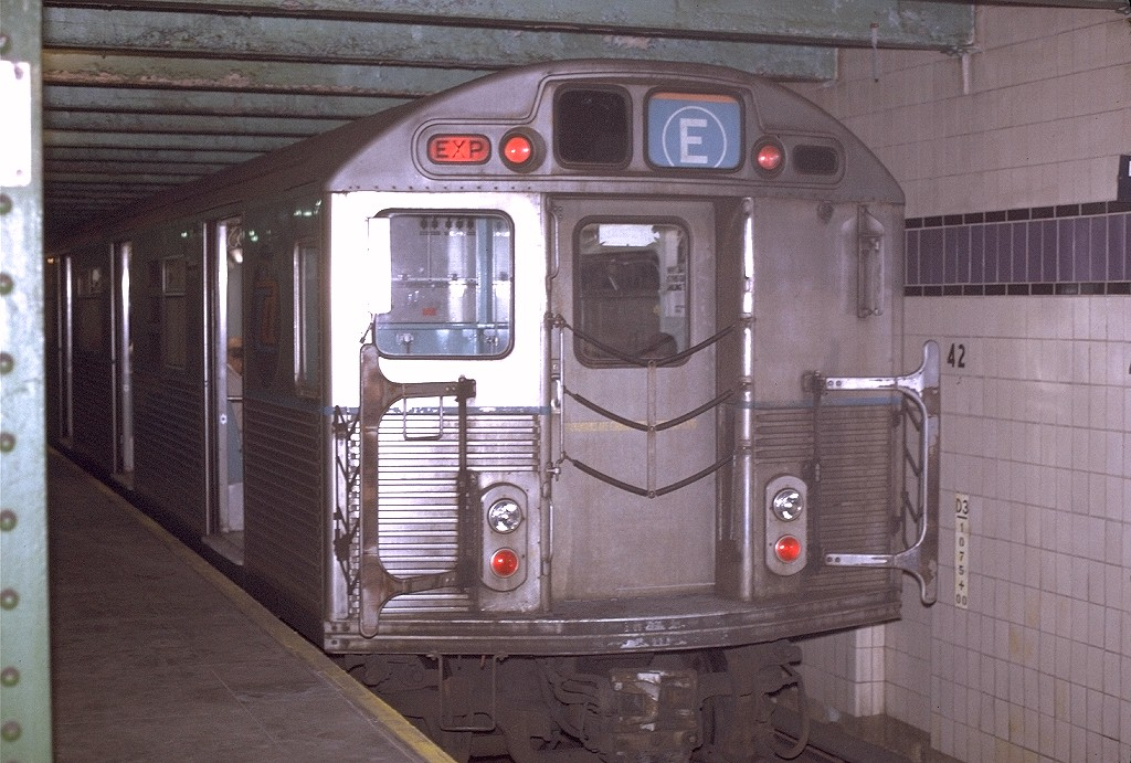 (211k, 1024x691)<br><b>Country:</b> United States<br><b>City:</b> New York<br><b>System:</b> New York City Transit<br><b>Line:</b> IND 8th Avenue Line<br><b>Location:</b> 42nd Street/Port Authority Bus Terminal (Lower Level) <br><b>Route:</b> E<br><b>Car:</b> R-38 (St. Louis, 1966-1967)  4001 <br><b>Photo by:</b> Joe Testagrose<br><b>Date:</b> 11/27/1970<br><b>Viewed (this week/total):</b> 2 / 16450