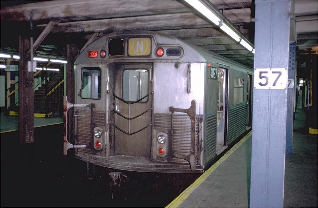 (195k, 1024x670)<br><b>Country:</b> United States<br><b>City:</b> New York<br><b>System:</b> New York City Transit<br><b>Line:</b> BMT Broadway Line<br><b>Location:</b> 57th Street <br><b>Route:</b> N<br><b>Car:</b> R-38 (St. Louis, 1966-1967)  4027 <br><b>Photo by:</b> Doug Grotjahn<br><b>Collection of:</b> Joe Testagrose<br><b>Date:</b> 10/14/1972<br><b>Viewed (this week/total):</b> 2 / 5182