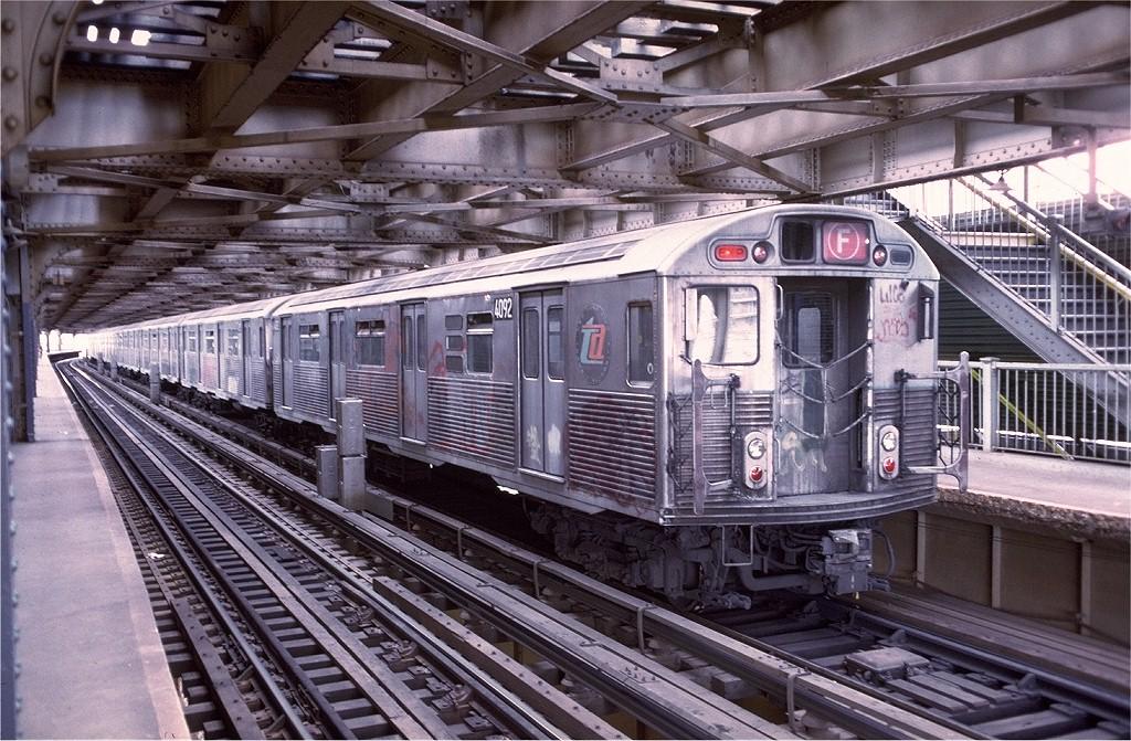 (263k, 1024x671)<br><b>Country:</b> United States<br><b>City:</b> New York<br><b>System:</b> New York City Transit<br><b>Line:</b> BMT Culver Line<br><b>Location:</b> West 8th Street <br><b>Route:</b> F<br><b>Car:</b> R-38 (St. Louis, 1966-1967)  4092 <br><b>Collection of:</b> Joe Testagrose<br><b>Viewed (this week/total):</b> 0 / 5303