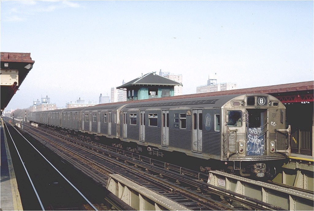 (215k, 1024x690)<br><b>Country:</b> United States<br><b>City:</b> New York<br><b>System:</b> New York City Transit<br><b>Line:</b> BMT West End Line<br><b>Location:</b> Bay 50th Street <br><b>Route:</b> B<br><b>Car:</b> R-38 (St. Louis, 1966-1967)  4096 <br><b>Photo by:</b> Steve Zabel<br><b>Collection of:</b> Joe Testagrose<br><b>Date:</b> 11/27/1981<br><b>Viewed (this week/total):</b> 1 / 4756