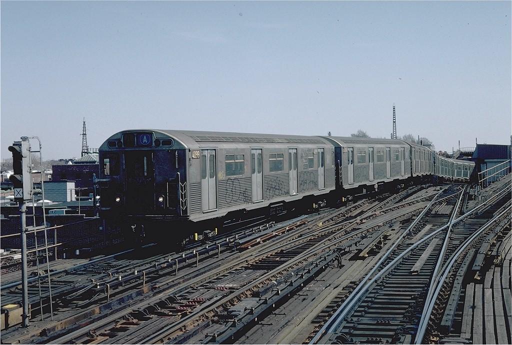 (246k, 1024x691)<br><b>Country:</b> United States<br><b>City:</b> New York<br><b>System:</b> New York City Transit<br><b>Line:</b> IND Fulton Street Line<br><b>Location:</b> Rockaway Boulevard <br><b>Route:</b> A<br><b>Car:</b> R-38 (St. Louis, 1966-1967)  4099 <br><b>Photo by:</b> Steve Zabel<br><b>Collection of:</b> Joe Testagrose<br><b>Date:</b> 4/5/1982<br><b>Viewed (this week/total):</b> 3 / 4437