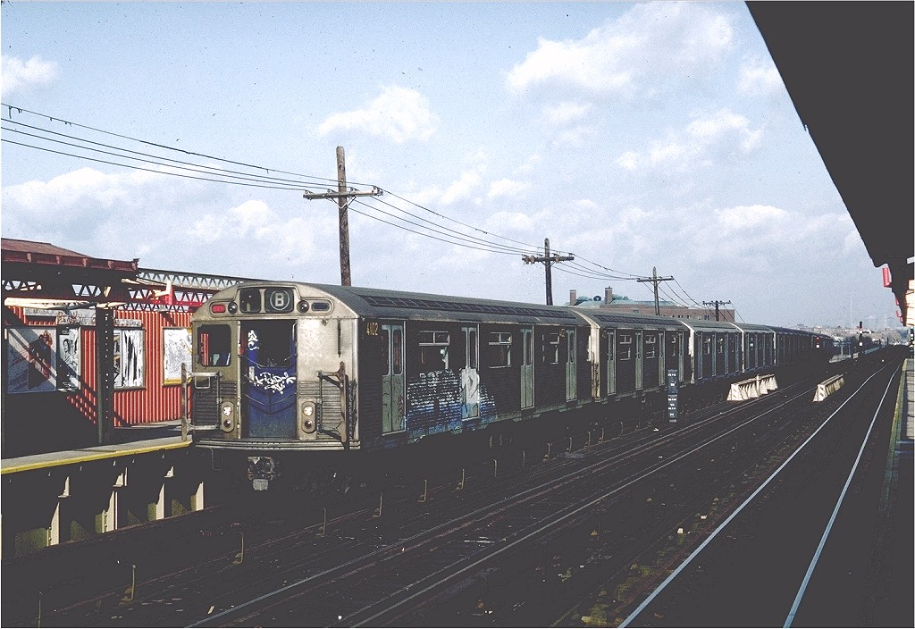 (209k, 1024x704)<br><b>Country:</b> United States<br><b>City:</b> New York<br><b>System:</b> New York City Transit<br><b>Line:</b> BMT West End Line<br><b>Location:</b> Bay 50th Street <br><b>Route:</b> B<br><b>Car:</b> R-38 (St. Louis, 1966-1967)  4102 <br><b>Photo by:</b> Steve Zabel<br><b>Collection of:</b> Joe Testagrose<br><b>Date:</b> 11/6/1981<br><b>Viewed (this week/total):</b> 0 / 4625