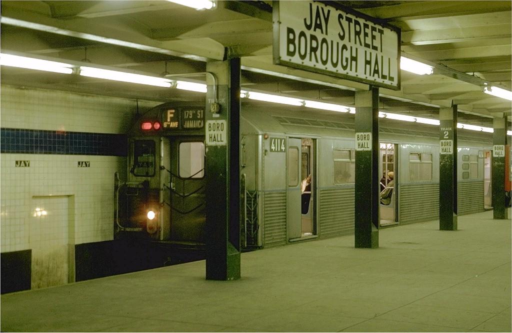 (190k, 1024x666)<br><b>Country:</b> United States<br><b>City:</b> New York<br><b>System:</b> New York City Transit<br><b>Line:</b> IND 8th Avenue Line<br><b>Location:</b> Jay St./Metrotech (Borough Hall) <br><b>Route:</b> F<br><b>Car:</b> R-38 (St. Louis, 1966-1967)  4114 <br><b>Photo by:</b> Joe Testagrose<br><b>Date:</b> 1/31/1970<br><b>Viewed (this week/total):</b> 0 / 4556