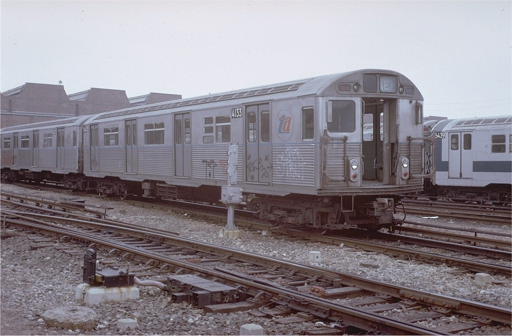 (200k, 1024x672)<br><b>Country:</b> United States<br><b>City:</b> New York<br><b>System:</b> New York City Transit<br><b>Location:</b> Coney Island Yard<br><b>Car:</b> R-38 (St. Louis, 1966-1967)  4133 <br><b>Photo by:</b> Steve Zabel<br><b>Collection of:</b> Joe Testagrose<br><b>Date:</b> 3/7/1973<br><b>Viewed (this week/total):</b> 0 / 3637