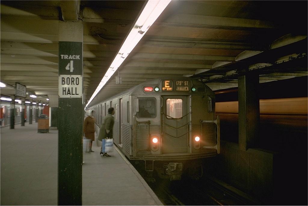 (161k, 1024x687)<br><b>Country:</b> United States<br><b>City:</b> New York<br><b>System:</b> New York City Transit<br><b>Line:</b> IND 8th Avenue Line<br><b>Location:</b> Jay St./Metrotech (Borough Hall) <br><b>Route:</b> E<br><b>Car:</b> R-38 (St. Louis, 1966-1967)  4133 <br><b>Photo by:</b> Joe Testagrose<br><b>Date:</b> 4/4/1969<br><b>Viewed (this week/total):</b> 5 / 4686