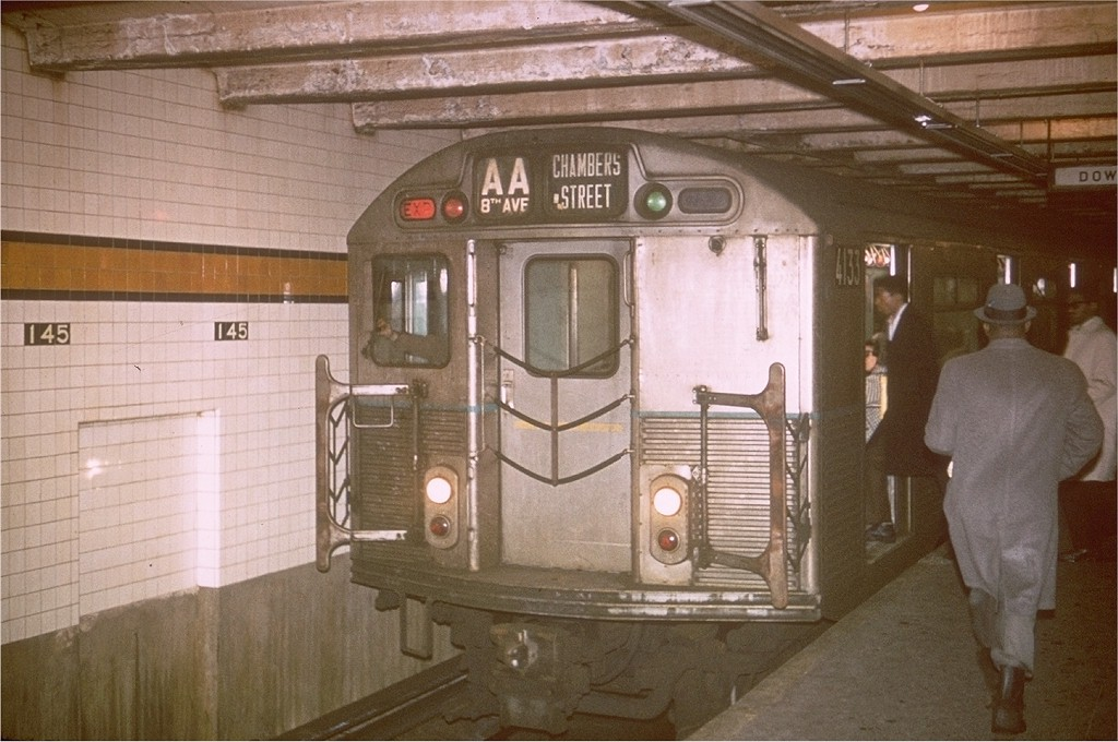 (187k, 1024x680)<br><b>Country:</b> United States<br><b>City:</b> New York<br><b>System:</b> New York City Transit<br><b>Line:</b> IND 8th Avenue Line<br><b>Location:</b> 145th Street <br><b>Route:</b> AA<br><b>Car:</b> R-38 (St. Louis, 1966-1967)  4133 <br><b>Photo by:</b> Steve Zabel<br><b>Collection of:</b> Joe Testagrose<br><b>Viewed (this week/total):</b> 0 / 5085