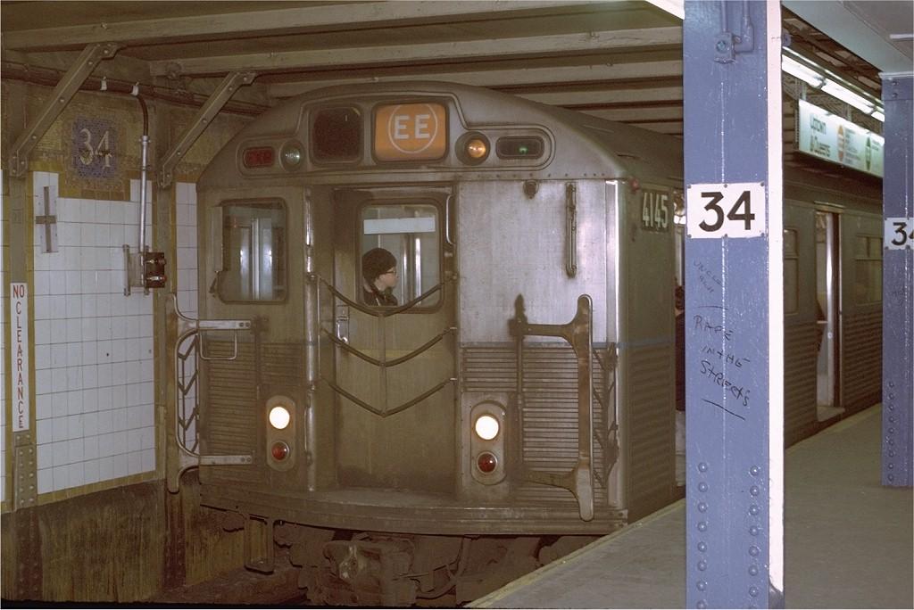 (179k, 1024x684)<br><b>Country:</b> United States<br><b>City:</b> New York<br><b>System:</b> New York City Transit<br><b>Line:</b> BMT Broadway Line<br><b>Location:</b> 34th Street/Herald Square <br><b>Route:</b> EE<br><b>Car:</b> R-38 (St. Louis, 1966-1967)  4145 <br><b>Photo by:</b> Joe Testagrose<br><b>Date:</b> 3/17/1971<br><b>Viewed (this week/total):</b> 5 / 5713