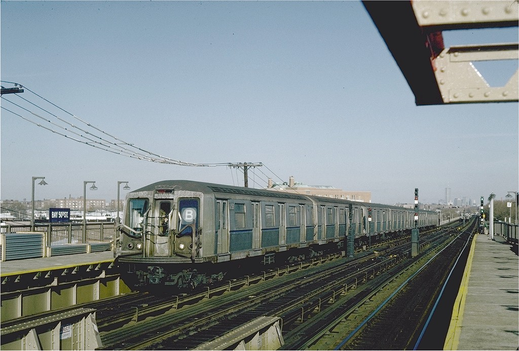 (214k, 1024x692)<br><b>Country:</b> United States<br><b>City:</b> New York<br><b>System:</b> New York City Transit<br><b>Line:</b> BMT West End Line<br><b>Location:</b> Bay 50th Street <br><b>Route:</b> B<br><b>Car:</b> R-40 (St. Louis, 1968)  4158 <br><b>Photo by:</b> Steve Zabel<br><b>Collection of:</b> Joe Testagrose<br><b>Date:</b> 11/19/1981<br><b>Viewed (this week/total):</b> 3 / 5775