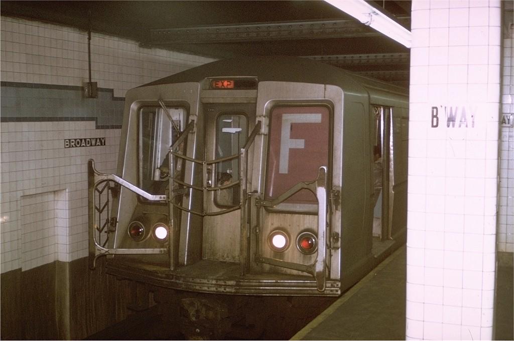 (161k, 1024x681)<br><b>Country:</b> United States<br><b>City:</b> New York<br><b>System:</b> New York City Transit<br><b>Line:</b> IND 6th Avenue Line<br><b>Location:</b> Broadway/Lafayette <br><b>Route:</b> F<br><b>Car:</b> R-40 (St. Louis, 1968)  4169 <br><b>Photo by:</b> Joe Testagrose<br><b>Date:</b> 1/23/1971<br><b>Viewed (this week/total):</b> 0 / 5583