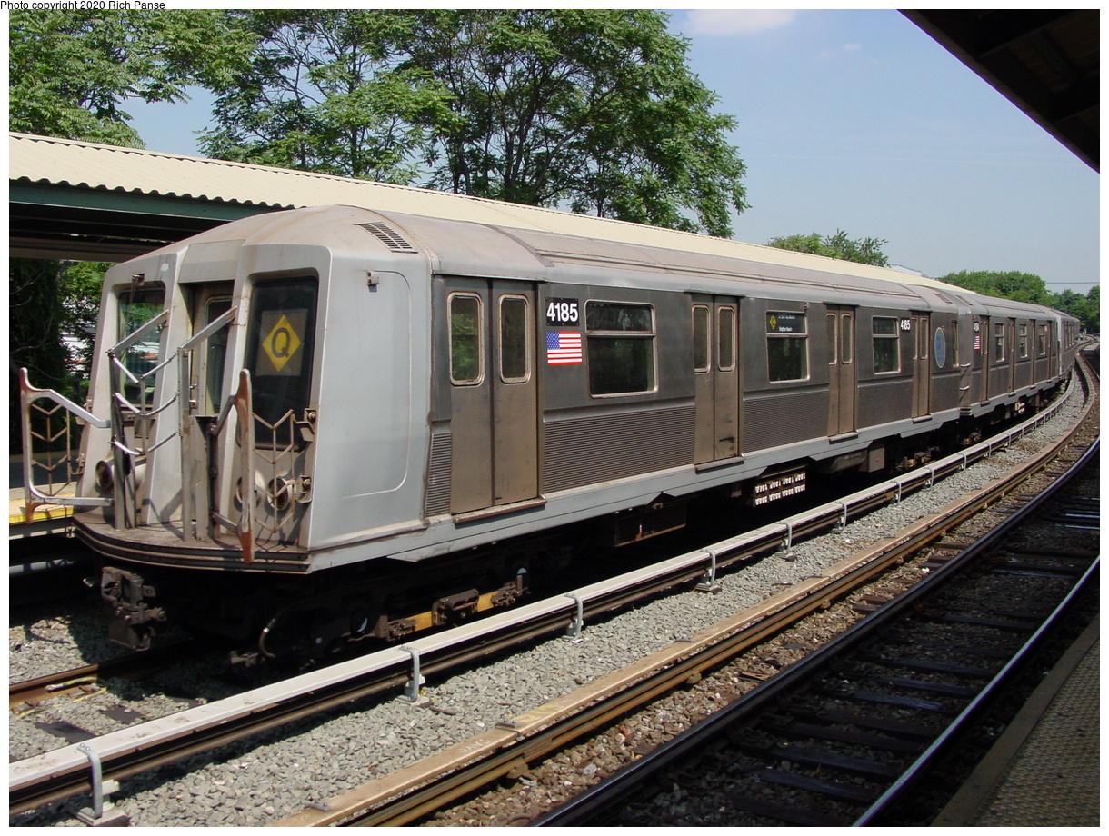 (113k, 820x620)<br><b>Country:</b> United States<br><b>City:</b> New York<br><b>System:</b> New York City Transit<br><b>Line:</b> BMT Brighton Line<br><b>Location:</b> Sheepshead Bay <br><b>Route:</b> Q<br><b>Car:</b> R-40 (St. Louis, 1968)  4185 <br><b>Photo by:</b> Richard Panse<br><b>Date:</b> 8/1/2002<br><b>Viewed (this week/total):</b> 1 / 12465