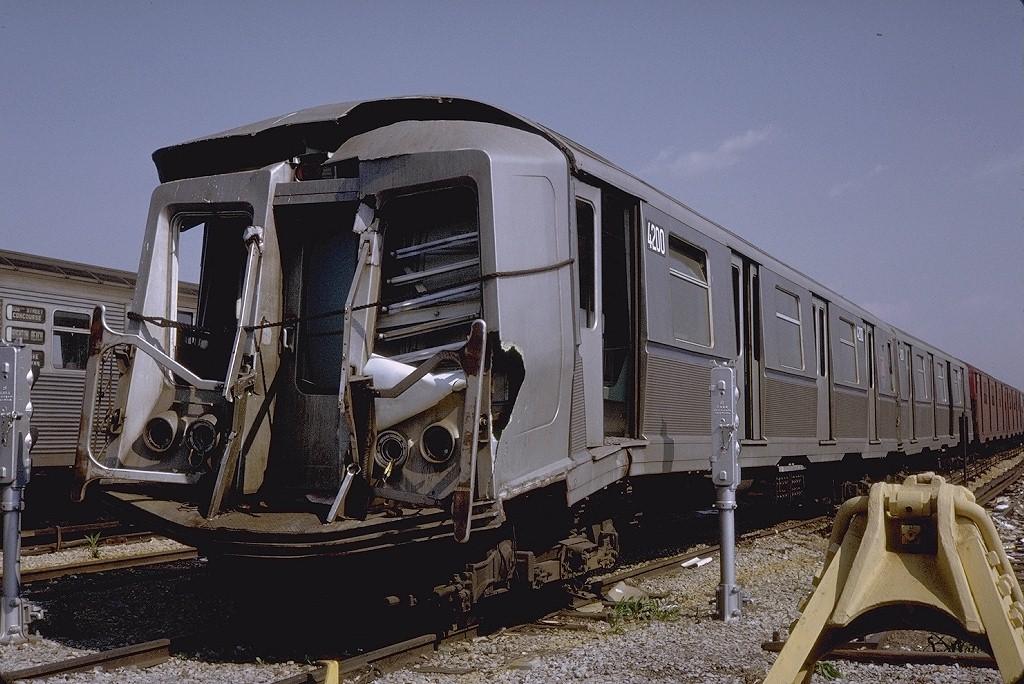 (214k, 1024x684)<br><b>Country:</b> United States<br><b>City:</b> New York<br><b>System:</b> New York City Transit<br><b>Location:</b> Coney Island Yard<br><b>Car:</b> R-40 (St. Louis, 1968)  4200 <br><b>Photo by:</b> Steve Zabel<br><b>Collection of:</b> Joe Testagrose<br><b>Date:</b> 5/25/1971<br><b>Viewed (this week/total):</b> 12 / 13816