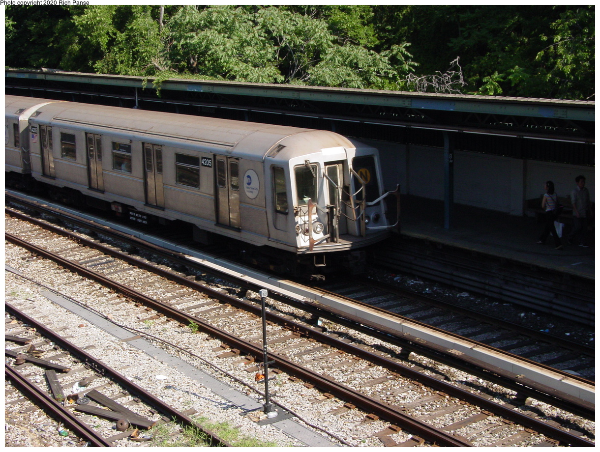 (121k, 820x620)<br><b>Country:</b> United States<br><b>City:</b> New York<br><b>System:</b> New York City Transit<br><b>Line:</b> BMT Sea Beach Line<br><b>Location:</b> 8th Avenue <br><b>Route:</b> N<br><b>Car:</b> R-40 (St. Louis, 1968)  4205 <br><b>Photo by:</b> Richard Panse<br><b>Date:</b> 8/1/2002<br><b>Viewed (this week/total):</b> 0 / 4391