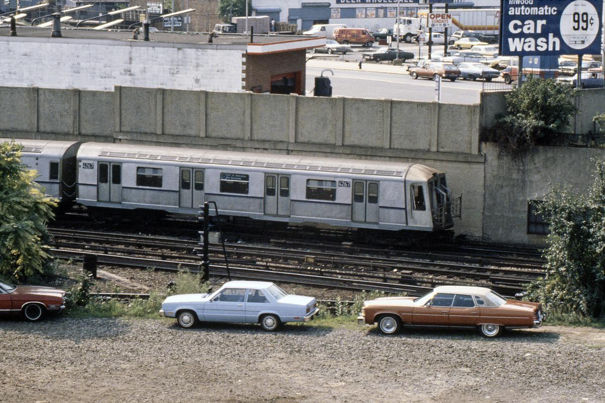 (662k, 1044x723)<br><b>Country:</b> United States<br><b>City:</b> New York<br><b>System:</b> New York City Transit<br><b>Location:</b> 207th Street Yard<br><b>Car:</b> R-40 (St. Louis, 1968)  4267 (ex-4367)<br><b>Photo by:</b> Steve Hoskins<br><b>Collection of:</b> David Pirmann<br><b>Date:</b> 9/1979<br><b>Viewed (this week/total):</b> 1 / 5008