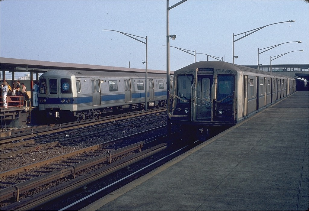 (224k, 1024x698)<br><b>Country:</b> United States<br><b>City:</b> New York<br><b>System:</b> New York City Transit<br><b>Line:</b> IND Rockaway<br><b>Location:</b> Howard Beach <br><b>Route:</b> A<br><b>Car:</b> R-40 (St. Louis, 1968)  4271 (ex-4371)<br><b>Photo by:</b> Doug Grotjahn<br><b>Collection of:</b> Joe Testagrose<br><b>Date:</b> 9/21/1980<br><b>Viewed (this week/total):</b> 5 / 6688