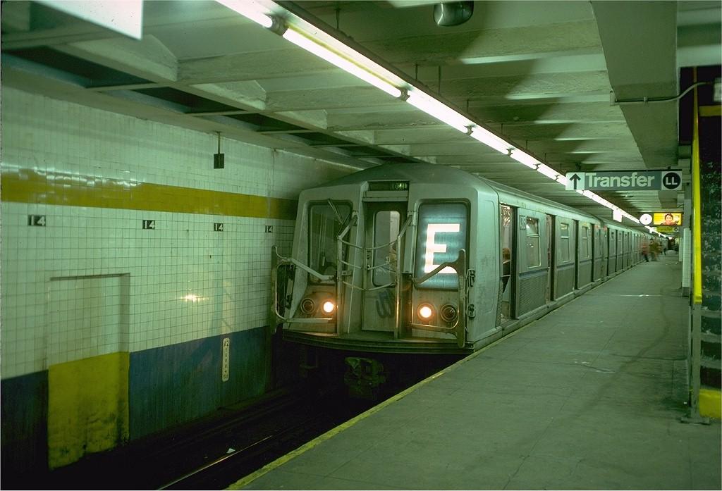 (183k, 1024x697)<br><b>Country:</b> United States<br><b>City:</b> New York<br><b>System:</b> New York City Transit<br><b>Line:</b> IND 8th Avenue Line<br><b>Location:</b> 14th Street <br><b>Route:</b> E<br><b>Car:</b> R-40 (St. Louis, 1968)  4315 (ex-4415)<br><b>Photo by:</b> Doug Grotjahn<br><b>Collection of:</b> Joe Testagrose<br><b>Date:</b> 10/31/1976<br><b>Viewed (this week/total):</b> 0 / 5101