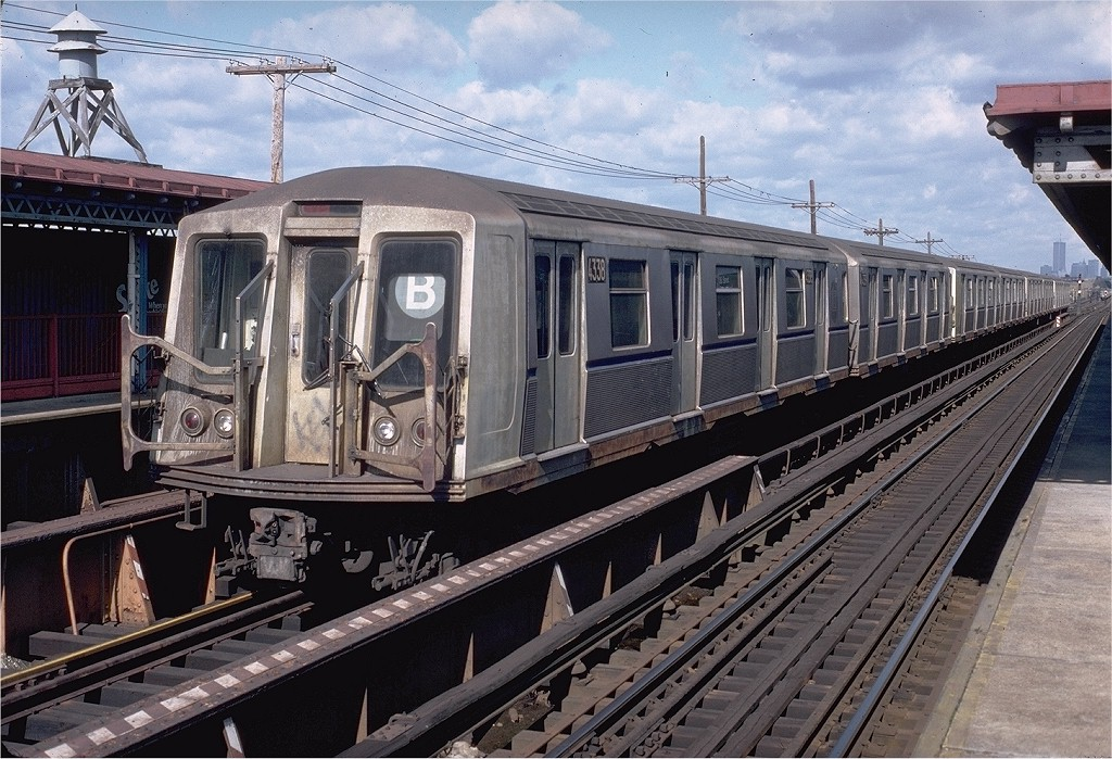 (241k, 1024x699)<br><b>Country:</b> United States<br><b>City:</b> New York<br><b>System:</b> New York City Transit<br><b>Line:</b> BMT West End Line<br><b>Location:</b> Bay 50th Street <br><b>Route:</b> B<br><b>Car:</b> R-40 (St. Louis, 1968)  4338 (ex-4438)<br><b>Photo by:</b> Doug Grotjahn<br><b>Collection of:</b> Joe Testagrose<br><b>Date:</b> 10/26/1980<br><b>Viewed (this week/total):</b> 4 / 4499
