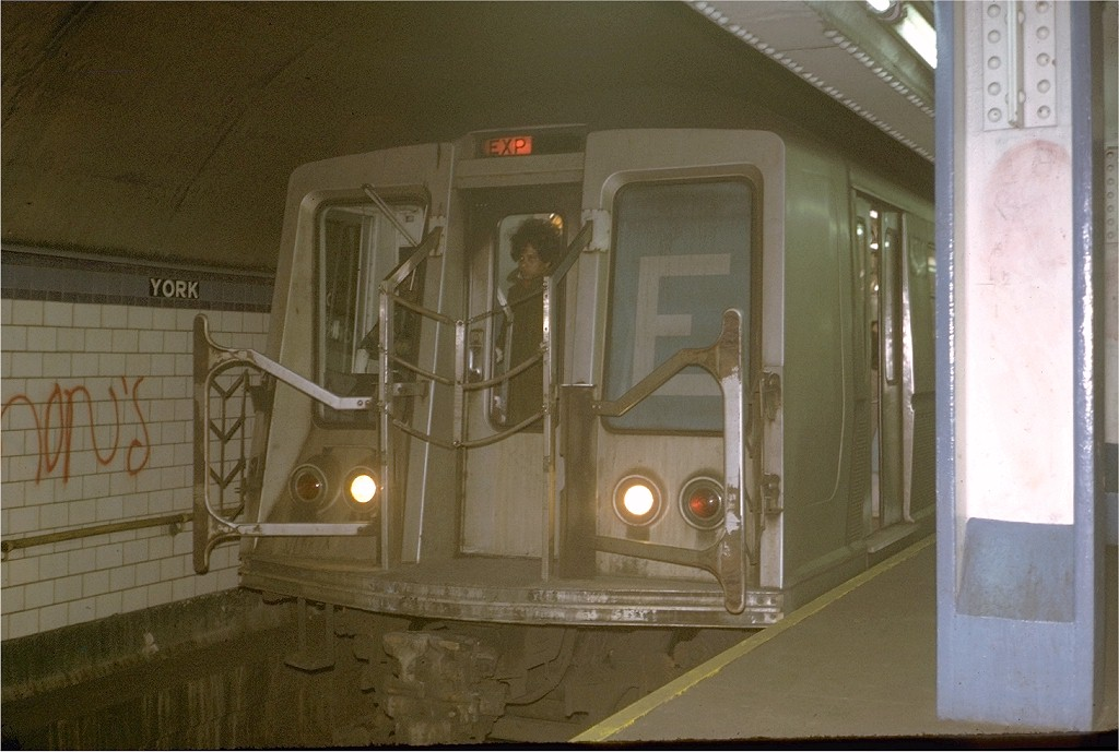 (168k, 1024x689)<br><b>Country:</b> United States<br><b>City:</b> New York<br><b>System:</b> New York City Transit<br><b>Line:</b> IND 6th Avenue Line<br><b>Location:</b> York Street <br><b>Route:</b> E<br><b>Car:</b> R-40 (St. Louis, 1968)  4342 (ex-4442)<br><b>Photo by:</b> Steve Zabel<br><b>Collection of:</b> Joe Testagrose<br><b>Date:</b> 12/15/1972<br><b>Viewed (this week/total):</b> 1 / 6667