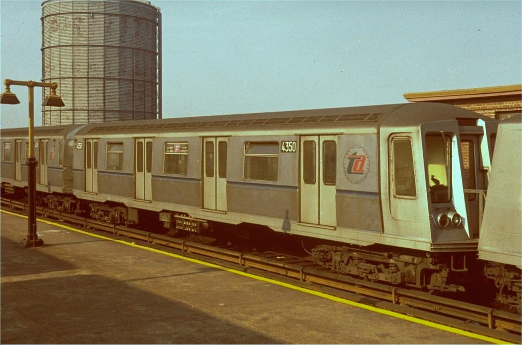 (182k, 1024x677)<br><b>Country:</b> United States<br><b>City:</b> New York<br><b>System:</b> New York City Transit<br><b>Location:</b> Coney Island/Stillwell Avenue<br><b>Route:</b> F<br><b>Car:</b> R-40 (St. Louis, 1968)  4350 (ex-4450)<br><b>Photo by:</b> Joe Testagrose<br><b>Date:</b> 1968<br><b>Viewed (this week/total):</b> 1 / 4049