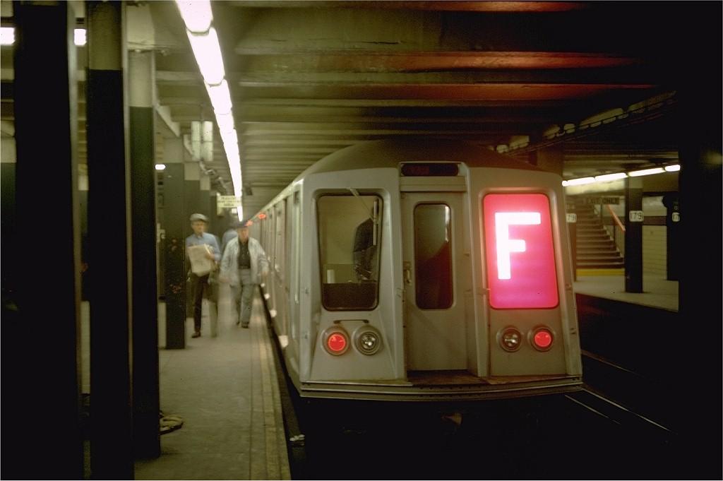 (126k, 1024x681)<br><b>Country:</b> United States<br><b>City:</b> New York<br><b>System:</b> New York City Transit<br><b>Line:</b> IND Queens Boulevard Line<br><b>Location:</b> 179th Street <br><b>Route:</b> F<br><b>Car:</b> R-40 (St. Louis, 1968)  4351 (ex-4451)<br><b>Photo by:</b> Doug Grotjahn<br><b>Collection of:</b> Joe Testagrose<br><b>Date:</b> 3/24/1968<br><b>Viewed (this week/total):</b> 11 / 7521