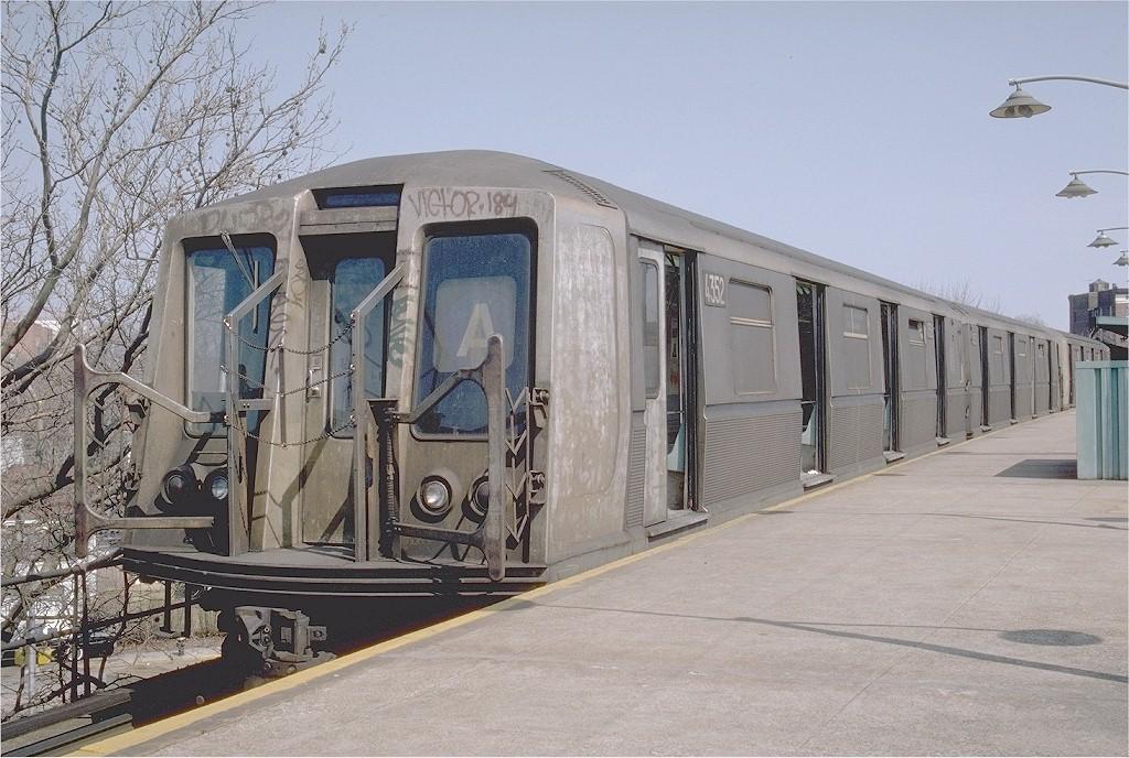 (220k, 1024x688)<br><b>Country:</b> United States<br><b>City:</b> New York<br><b>System:</b> New York City Transit<br><b>Line:</b> IND Rockaway<br><b>Location:</b> Mott Avenue/Far Rockaway <br><b>Route:</b> A<br><b>Car:</b> R-40 (St. Louis, 1968)  4352 (ex-4452)<br><b>Photo by:</b> Steve Zabel<br><b>Collection of:</b> Joe Testagrose<br><b>Date:</b> 3/24/1982<br><b>Viewed (this week/total):</b> 3 / 5063