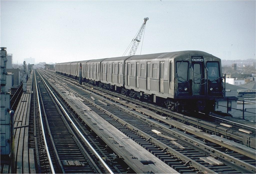 (245k, 1024x696)<br><b>Country:</b> United States<br><b>City:</b> New York<br><b>System:</b> New York City Transit<br><b>Line:</b> IND Fulton Street Line<br><b>Location:</b> Rockaway Boulevard <br><b>Route:</b> A<br><b>Car:</b> R-40 (St. Louis, 1968)  4353 (ex-4453)<br><b>Photo by:</b> Steve Zabel<br><b>Collection of:</b> Joe Testagrose<br><b>Date:</b> 1/30/1982<br><b>Viewed (this week/total):</b> 0 / 4363