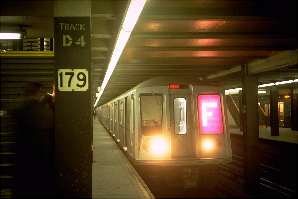 (139k, 1024x684)<br><b>Country:</b> United States<br><b>City:</b> New York<br><b>System:</b> New York City Transit<br><b>Line:</b> IND Queens Boulevard Line<br><b>Location:</b> 179th Street <br><b>Route:</b> F<br><b>Car:</b> R-40 (St. Louis, 1968)  4355 (ex-4454)<br><b>Photo by:</b> Doug Grotjahn<br><b>Collection of:</b> Joe Testagrose<br><b>Date:</b> 3/24/1968<br><b>Viewed (this week/total):</b> 11 / 7014