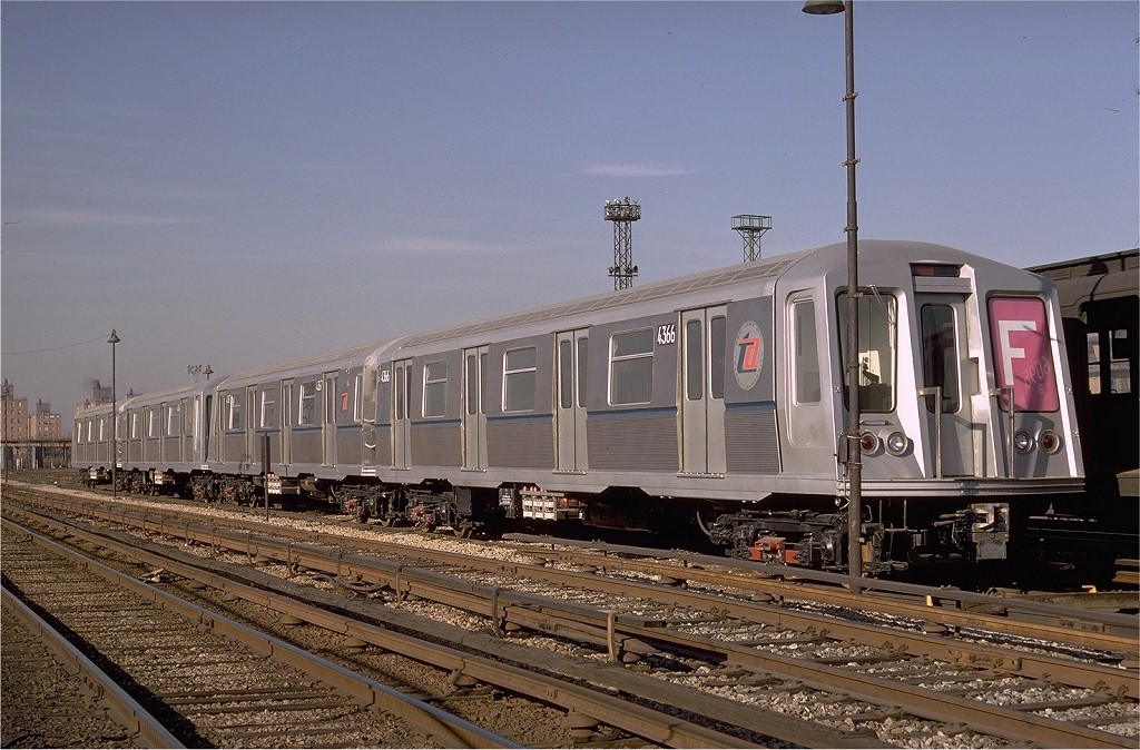 (212k, 1024x674)<br><b>Country:</b> United States<br><b>City:</b> New York<br><b>System:</b> New York City Transit<br><b>Location:</b> Coney Island Yard<br><b>Car:</b> R-40 (St. Louis, 1968)  4366 (ex-4466)<br><b>Photo by:</b> Doug Grotjahn<br><b>Collection of:</b> Joe Testagrose<br><b>Date:</b> 2/25/1968<br><b>Viewed (this week/total):</b> 0 / 3826