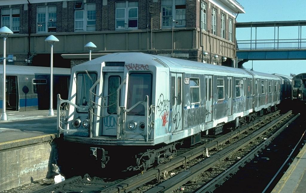 (226k, 1024x646)<br><b>Country:</b> United States<br><b>City:</b> New York<br><b>System:</b> New York City Transit<br><b>Location:</b> Coney Island/Stillwell Avenue<br><b>Route:</b> F<br><b>Car:</b> R-40 (St. Louis, 1968)  4368 (ex-4468)<br><b>Photo by:</b> Ed McKernan<br><b>Collection of:</b> Joe Testagrose<br><b>Date:</b> 5/1/1977<br><b>Viewed (this week/total):</b> 0 / 4636