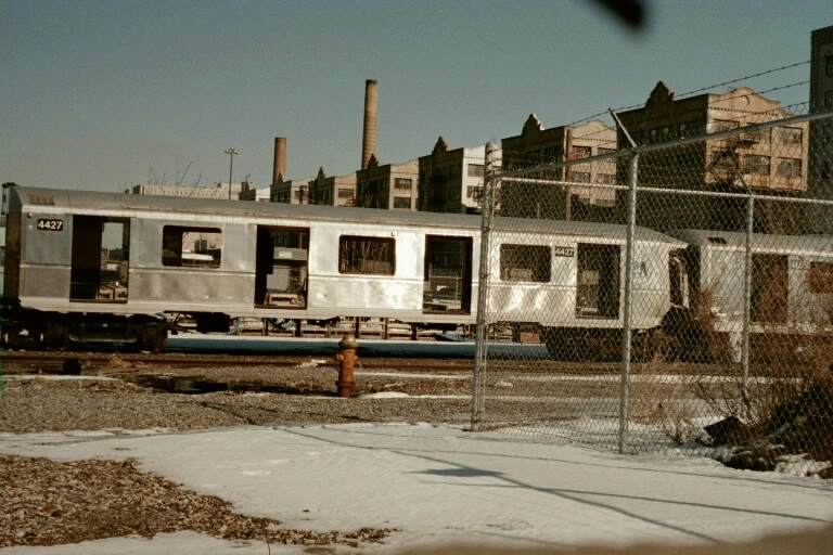 (74k, 768x512)<br><b>Country:</b> United States<br><b>City:</b> New York<br><b>System:</b> New York City Transit<br><b>Line:</b> South Brooklyn Railway<br><b>Location:</b> SBK Yard (2nd Ave at 38th St.) (SBK)<br><b>Car:</b> R-40 (St. Louis, 1968)  4427 (ex-4527)<br><b>Photo by:</b> Michael Pompili<br><b>Date:</b> 1/27/2001<br><b>Viewed (this week/total):</b> 18 / 10629