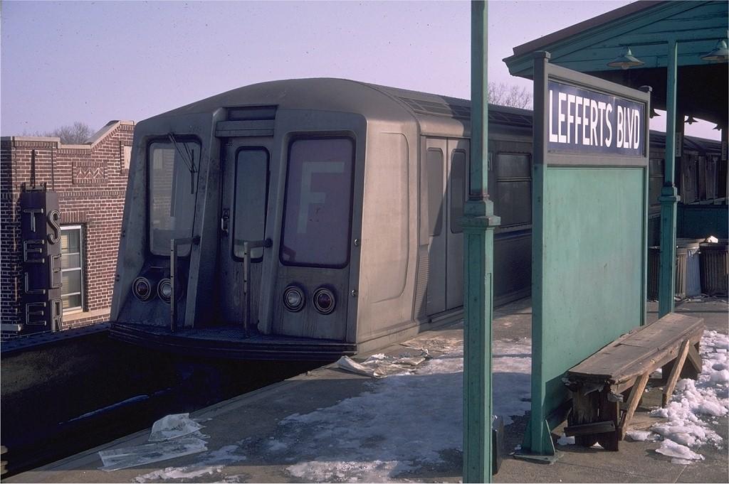 (184k, 1024x681)<br><b>Country:</b> United States<br><b>City:</b> New York<br><b>System:</b> New York City Transit<br><b>Line:</b> IND Fulton Street Line<br><b>Location:</b> Lefferts Boulevard <br><b>Route:</b> F reroute<br><b>Car:</b> R-40 (St. Louis, 1968)  4431 (ex-4531)<br><b>Photo by:</b> Doug Grotjahn<br><b>Collection of:</b> Joe Testagrose<br><b>Date:</b> 2/13/1969<br><b>Viewed (this week/total):</b> 1 / 4728