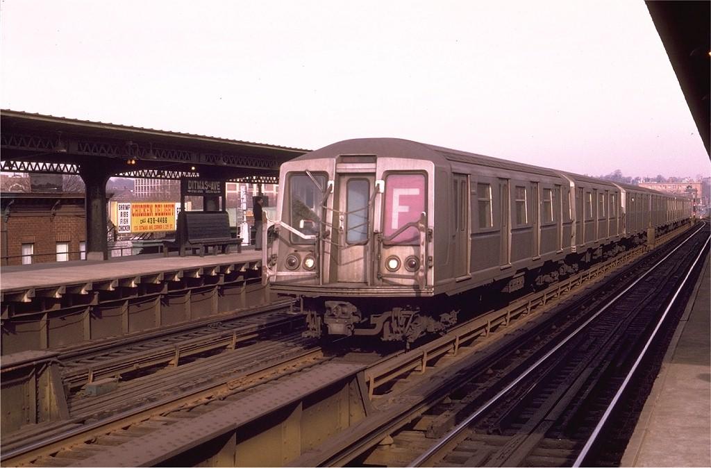(178k, 1024x674)<br><b>Country:</b> United States<br><b>City:</b> New York<br><b>System:</b> New York City Transit<br><b>Line:</b> BMT Culver Line<br><b>Location:</b> Ditmas Avenue <br><b>Route:</b> F<br><b>Car:</b> R-40 (St. Louis, 1968)  4441 (ex-4541)<br><b>Photo by:</b> Joe Testagrose<br><b>Date:</b> 2/1/1970<br><b>Viewed (this week/total):</b> 1 / 4650
