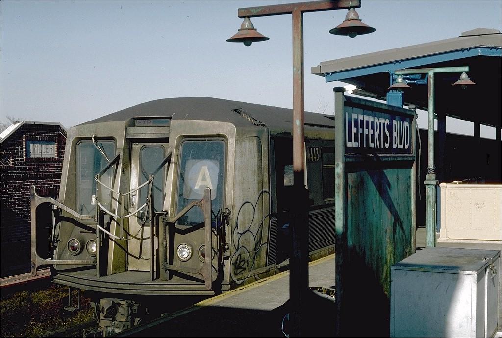 (223k, 1024x690)<br><b>Country:</b> United States<br><b>City:</b> New York<br><b>System:</b> New York City Transit<br><b>Line:</b> IND Fulton Street Line<br><b>Location:</b> Lefferts Boulevard <br><b>Route:</b> A<br><b>Car:</b> R-40 (St. Louis, 1968)  4443 (ex-4543)<br><b>Photo by:</b> Steve Zabel<br><b>Collection of:</b> Joe Testagrose<br><b>Date:</b> 4/5/1982<br><b>Viewed (this week/total):</b> 1 / 4801