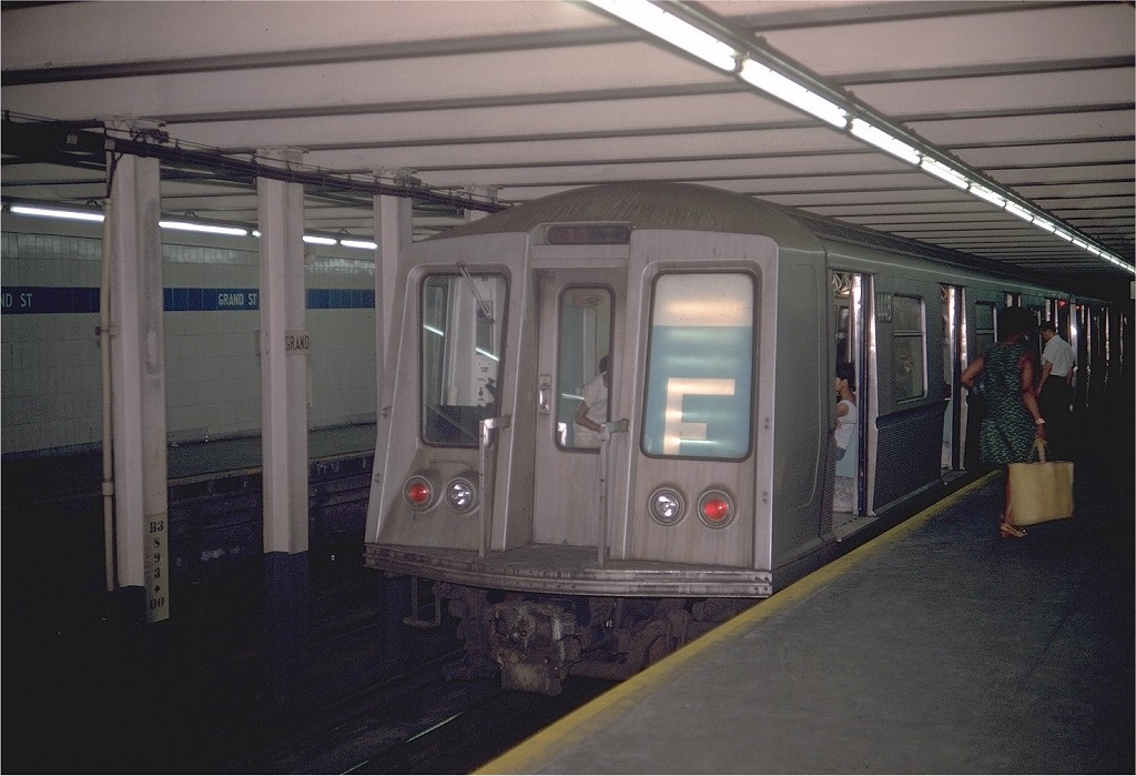 (175k, 1024x699)<br><b>Country:</b> United States<br><b>City:</b> New York<br><b>System:</b> New York City Transit<br><b>Line:</b> IND 6th Avenue Line<br><b>Location:</b> Grand Street <br><b>Route:</b> D<br><b>Car:</b> R-40 (St. Louis, 1968)  4448 (ex-4548)<br><b>Photo by:</b> Doug Grotjahn<br><b>Collection of:</b> Joe Testagrose<br><b>Date:</b> 6/29/1969<br><b>Viewed (this week/total):</b> 0 / 8756
