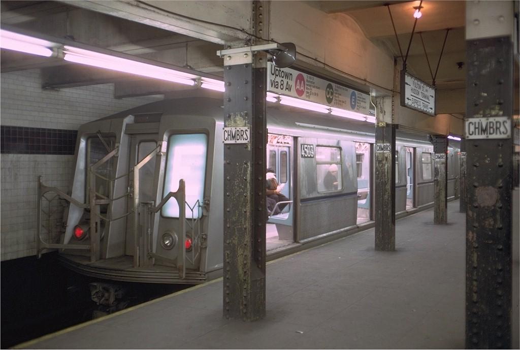 (152k, 1024x689)<br><b>Country:</b> United States<br><b>City:</b> New York<br><b>System:</b> New York City Transit<br><b>Line:</b> IND 8th Avenue Line<br><b>Location:</b> Chambers Street/World Trade Center <br><b>Route:</b> E<br><b>Car:</b> R-40 (St. Louis, 1968)  4503 <br><b>Photo by:</b> Doug Grotjahn<br><b>Collection of:</b> Joe Testagrose<br><b>Date:</b> 3/13/1969<br><b>Viewed (this week/total):</b> 2 / 4246