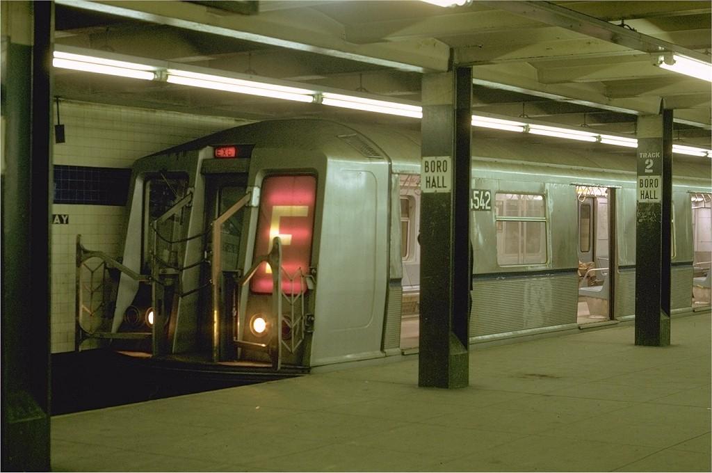 (169k, 1024x680)<br><b>Country:</b> United States<br><b>City:</b> New York<br><b>System:</b> New York City Transit<br><b>Line:</b> IND 8th Avenue Line<br><b>Location:</b> Jay St./Metrotech (Borough Hall) <br><b>Route:</b> F<br><b>Car:</b> R-40 (St. Louis, 1968)  4542 <br><b>Photo by:</b> Joe Testagrose<br><b>Date:</b> 1/31/1970<br><b>Viewed (this week/total):</b> 5 / 4988