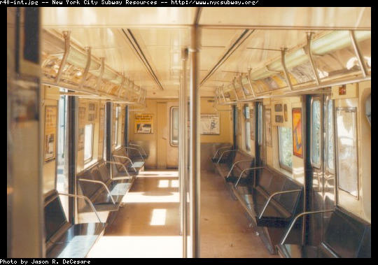 (43k, 540x379)<br><b>Country:</b> United States<br><b>City:</b> New York<br><b>System:</b> New York City Transit<br><b>Car:</b> R-40 (St. Louis, 1968)  Interior <br><b>Photo by:</b> Jason R. DeCesare<br><b>Date:</b> 6/1997<br><b>Viewed (this week/total):</b> 7 / 17968