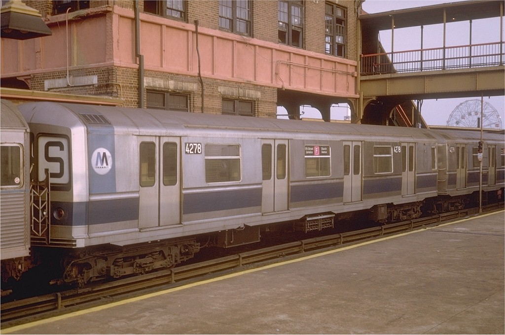 (185k, 1024x680)<br><b>Country:</b> United States<br><b>City:</b> New York<br><b>System:</b> New York City Transit<br><b>Location:</b> Coney Island/Stillwell Avenue<br><b>Route:</b> F<br><b>Car:</b> R-40M (St. Louis, 1969)  4278 <br><b>Photo by:</b> Steve Zabel<br><b>Collection of:</b> Joe Testagrose<br><b>Date:</b> 9/6/1969<br><b>Viewed (this week/total):</b> 3 / 4076