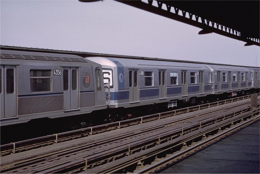 (215k, 1024x684)<br><b>Country:</b> United States<br><b>City:</b> New York<br><b>System:</b> New York City Transit<br><b>Line:</b> BMT Culver Line<br><b>Location:</b> Avenue U <br><b>Route:</b> F<br><b>Car:</b> R-40M (St. Louis, 1969)  4301 <br><b>Photo by:</b> Doug Grotjahn<br><b>Collection of:</b> Joe Testagrose<br><b>Date:</b> 4/4/1969<br><b>Viewed (this week/total):</b> 1 / 4282