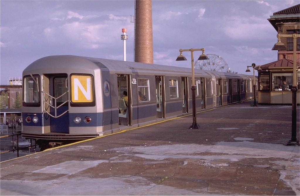 (184k, 1024x670)<br><b>Country:</b> United States<br><b>City:</b> New York<br><b>System:</b> New York City Transit<br><b>Location:</b> Coney Island/Stillwell Avenue<br><b>Route:</b> N<br><b>Car:</b> R-40M (St. Louis, 1969)  4306 (ex-4406)<br><b>Photo by:</b> Doug Grotjahn<br><b>Collection of:</b> Joe Testagrose<br><b>Date:</b> 5/11/1969<br><b>Viewed (this week/total):</b> 1 / 3766
