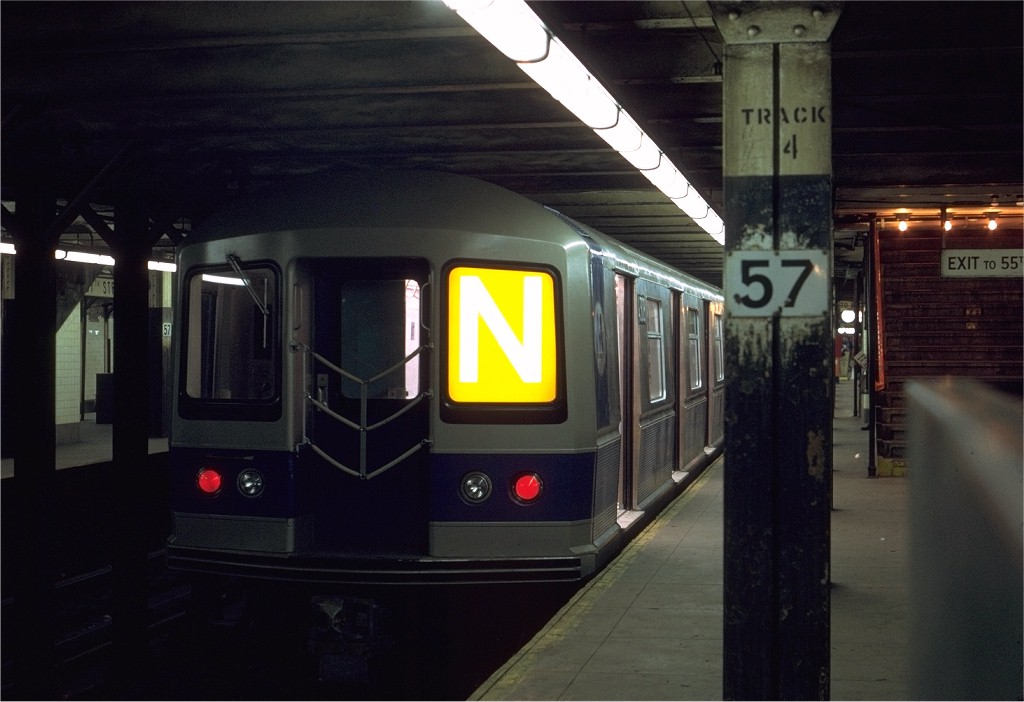 (142k, 1024x702)<br><b>Country:</b> United States<br><b>City:</b> New York<br><b>System:</b> New York City Transit<br><b>Line:</b> BMT Broadway Line<br><b>Location:</b> 57th Street <br><b>Route:</b> N<br><b>Car:</b> R-40M (St. Louis, 1969)  4308 <br><b>Photo by:</b> Joe Testagrose<br><b>Date:</b> 4/8/1969<br><b>Viewed (this week/total):</b> 0 / 4489