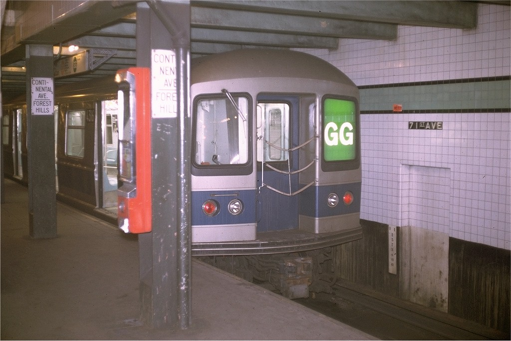(172k, 1024x684)<br><b>Country:</b> United States<br><b>City:</b> New York<br><b>System:</b> New York City Transit<br><b>Line:</b> IND Queens Boulevard Line<br><b>Location:</b> 71st/Continental Aves./Forest Hills <br><b>Route:</b> GG<br><b>Car:</b> R-40M (St. Louis, 1969)  4316 <br><b>Photo by:</b> Joe Testagrose<br><b>Date:</b> 7/15/1969<br><b>Viewed (this week/total):</b> 3 / 4329