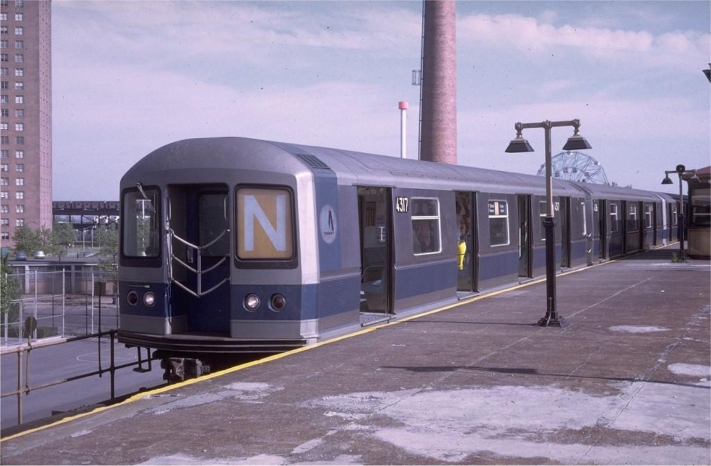 (194k, 1024x671)<br><b>Country:</b> United States<br><b>City:</b> New York<br><b>System:</b> New York City Transit<br><b>Location:</b> Coney Island/Stillwell Avenue<br><b>Route:</b> N<br><b>Car:</b> R-40M (St. Louis, 1969)  4317 <br><b>Photo by:</b> Doug Grotjahn<br><b>Collection of:</b> Joe Testagrose<br><b>Date:</b> 5/17/1969<br><b>Viewed (this week/total):</b> 0 / 2942