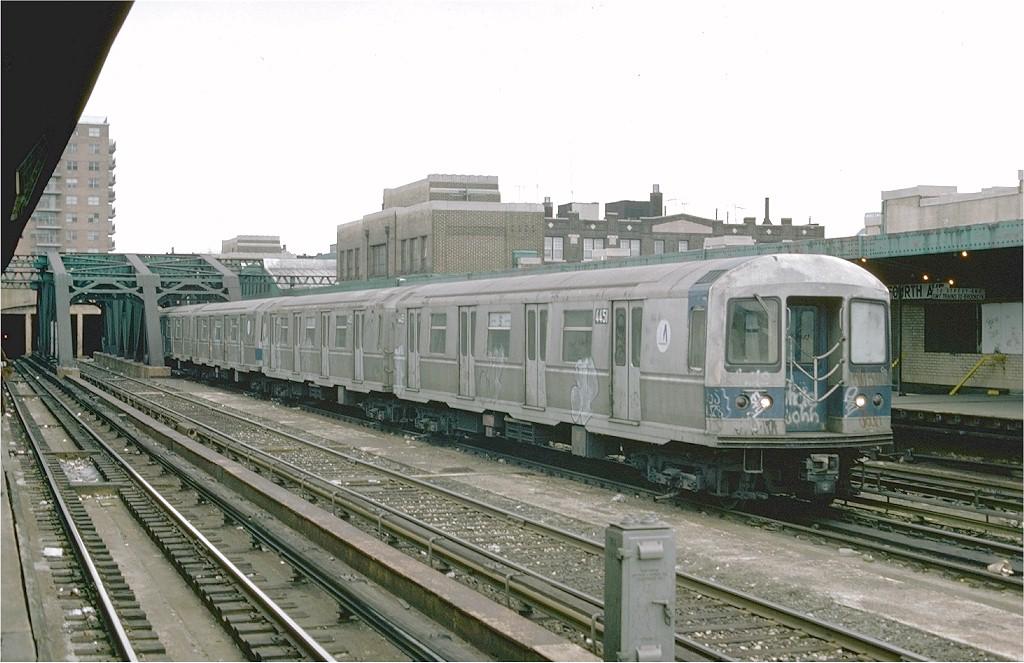 (183k, 1024x663)<br><b>Country:</b> United States<br><b>City:</b> New York<br><b>System:</b> New York City Transit<br><b>Line:</b> IND Crosstown Line<br><b>Location:</b> 4th Avenue <br><b>Car:</b> R-40M (St. Louis, 1969)  4451 (ex-4251)<br><b>Photo by:</b> Joe Testagrose<br><b>Date:</b> 2/26/1977<br><b>Viewed (this week/total):</b> 4 / 4247